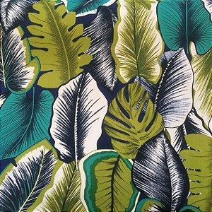 Tecido Estilo Linho Impermeável Folhas Fundo Azul Marinho - Ilhabela 11