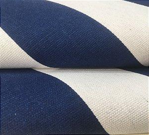 Tecido Estilo Linho Impermeável  Azul Marinho Listrado - Ilhabela 13