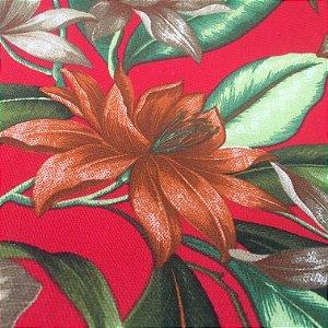 Tecido Estilo Linho Impermeável Flores Fundo Vermelho - Ilhabela 17