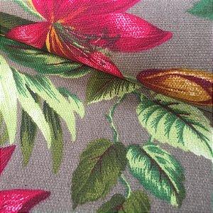 Tecido Estilo Linho Impermeável Flores Fundo Capuccino - Ilhabela 18