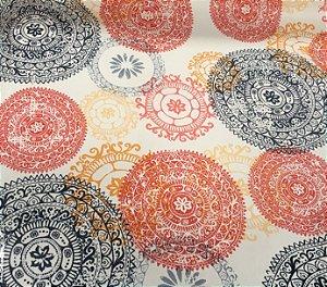 Tecido Corino Mandala Stick Azul, Vermelho e Branco