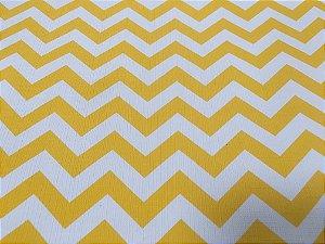 Tecido Corino PVC Carol Viana Chevron Amarelo