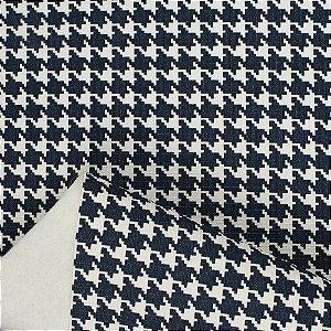 Tecido Corino PVC Carol Viana Pied de Poule Navy Blue
