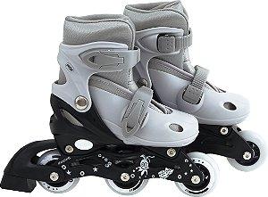 Patins Roller Infantil Cinza e Preto Ajustável do 30-33
