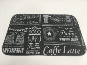 Capacho de Tecido Pop Estilo Cafeteria Preto 40 x 60 cm