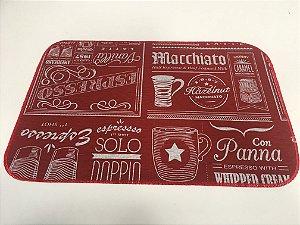 Capacho de Tecido Pop Estilo Cafeteria Vermelho 40 x 60 cm
