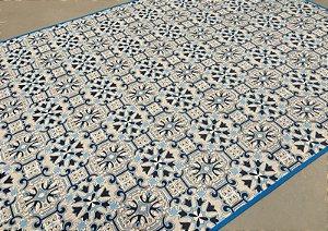Tapete de Tecido Pop Estilo Gradil Azul 1,00 x 1,40 m