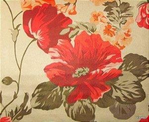 Tecido Suede Flores Vermelho Laranja - Tai 08