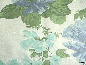 Tecido Suede Flores Azul Verde - Tai 25