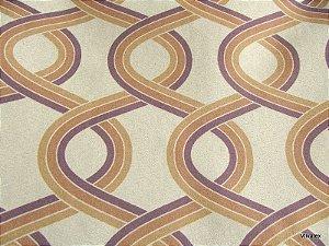 Tecido Suede Geometrico Caramelo Roxo - Tai 50