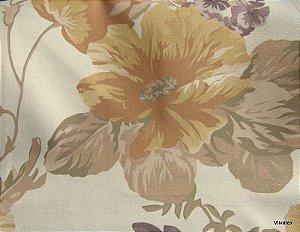 Tecido Suede Flores Caramelo Roxo - Tai 52