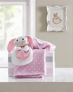 Manta de Bebê Macia Poa Rosa com Naninha Coelhinho