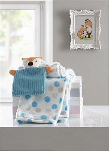 Manta de Bebê Macia Poa Azul com Naninha Raposa