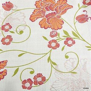 Tecido Algodão Floral Laranja, Verde Impermeabilizado - Can 05