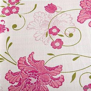Tecido Algodão Flores Rosa, Verde Impermeabilizado - Can 10