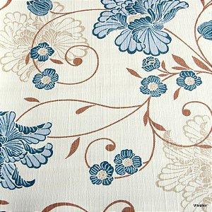 Tecido Algodão Flores Branco, Marrom, Azul Impermeabilizado - Can 22