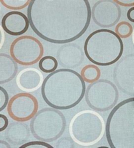 Tecido Linho Circulos em Marrom, Cinza e Branco com fundo Cinza Impermeabilizado - Can 61