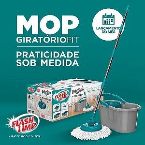 Esfregão Mop Giratório FIT, Kit com Balde, esfregão e Cabo - FlashLimp