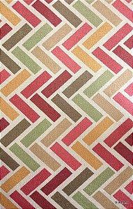 Tecido Suede Geometrico Bordo, Bege, Verde - Esmeralda 09