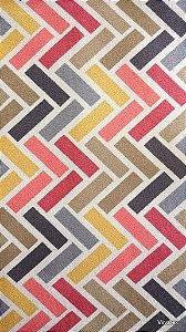 Tecido Suede Geometrico Amarelo, Vermelho, Cinza - Esmeralda 15