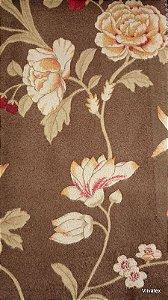 Tecido Suede Floral Marrom, Creme - Esmeralda 26