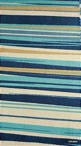 Tecido Suede Listrado Azul, Turquesa e Creme - Esmeralda 37