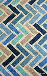 Tecido Suede Geometrico Azul, Turquesa e Creme - Esmeralda 38