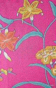 Tecido Suede Floral Lilas e Turquesa - Esmeralda 43