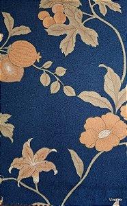 Tecido Suede Floral Marinho e Bege - Esmeralda 49