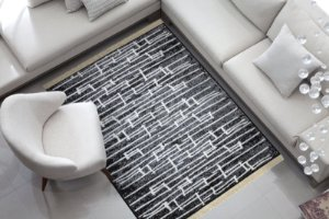 Tapete Belga Luxo Preto e Cinza Moderno Macio Des 91A 1,40 x 2,00 m