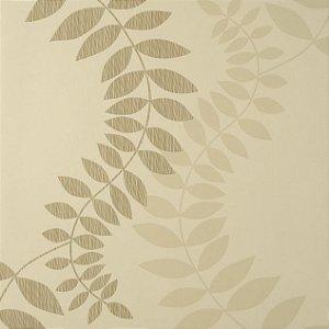 Papel de Parede Diamond Fundo Creme, Floral em Creme e Marrom Claro Texturizado - PF100203