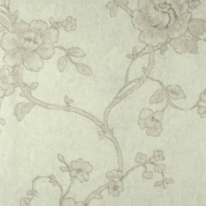 Papel de Parede Diamond Fundo Verde Claro Floral Marrom - DF650104