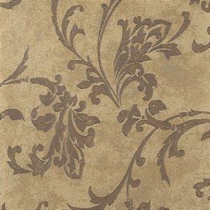 Papel de Parede Diamond Fundo Marrom Claro Manchado Floral em Marrom com Brilho - DF650505