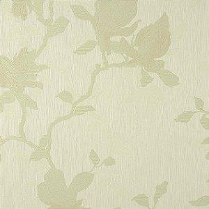 Papel de Parede Diamond fund creme claro e floral em verde claro - PL10104