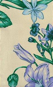 Tecido área externa impermeabilizado  - Floral Verde Lilas - Acqua 110