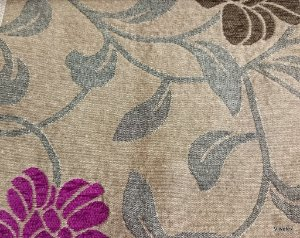 Tecido para sofá chenille Floral Roxo e Bege - Tur 14