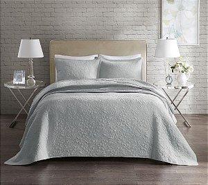 Colcha Florence Home Design Solteiro - 2,20m x 1,60m - Com Porta Travesseiro - Cinza Claro