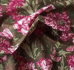 Tecido para Sofá e Estofado Impermeabilizado  Marrom, Vermelho e Verde Floral  - AST- 10