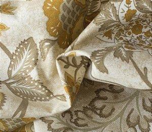 Tecido para Sofá e Estofado Impermeabilizado Mostarda e Bege Floral - AST- 23