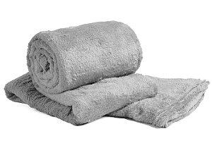 Manta Cobertor Para o Frio Casal Microfibra Macia 1,80x2,05 Cinza Fatex