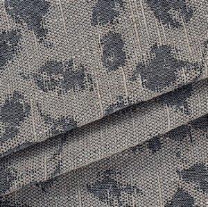 Tecido para Sofá Linho Rústico Folhas Bege com Preto - Vice 24
