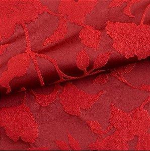 Tecido para Sofá e Estofado Jaquard  Vermelho Floral - Ferr - 27