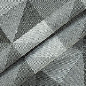 Tecido para Sofá Linho Rústico Triângulos Cinza Chumbo- Vice 48