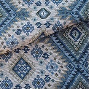 Tecido para Sofá e Estofado Jaquard Verde, Azul e Bege - Ferr - 37