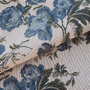 Tecido para Sofá e Estofado Jaquard Verde e Azul - Ferr - 39