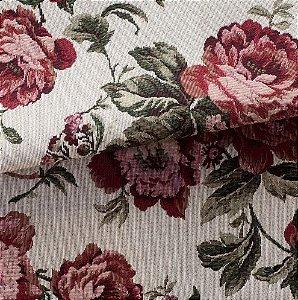 Tecido para Sofá e Estofado Jaquard Vermelho e verde Rosas Ferr - 48
