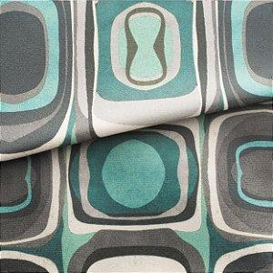 Tecido para Sofá e Estofado Veludo Geométrico Tons de Verde - MARSE 07