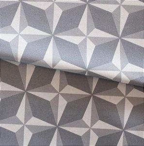 Tecido para Sofá e Estofado Veludo Geométrico Cinza e Gelo - MARSE 09