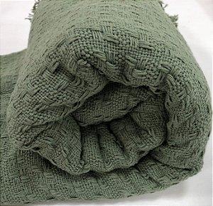 Manta De Tricot Colcha Cama Solteiro Verde Para Frio 1,70x2,50 Mts Eterna