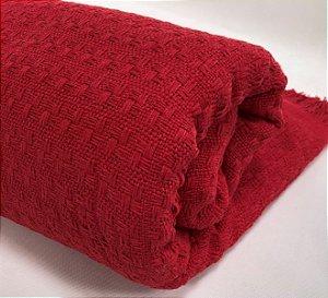 Manta De Tricot Colcha Cama Solteiro Vermelha Para Frio 1,70x2,50 Mts Eterna